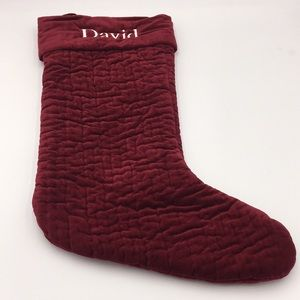 """Pottery Barn Velvet Christmas Stocking Red """"David"""""""